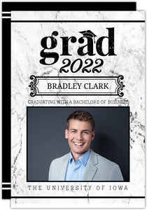 White Marble Simple Graduation Announcement