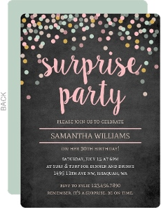 Chalkboard Colorful Confetti Surprise Birthday Invitation