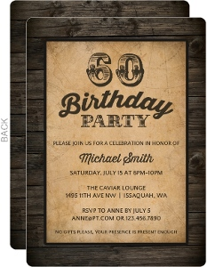 Antique Woodgrain 60th Birthday Invitation