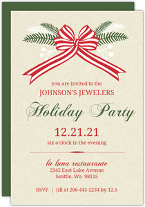Festive Sprigs & Red Bow Holiday Business Party Invitation