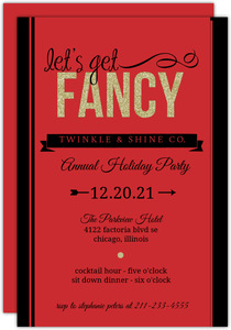 Fancy Faux Glitter Red Business Holiday Party Invitation