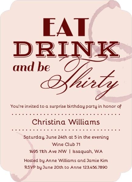 eat drink be 30 birthday invitation 30th birthday invitations