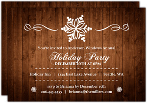 Woodgrain Snowflake Business Holiday Party Invitation