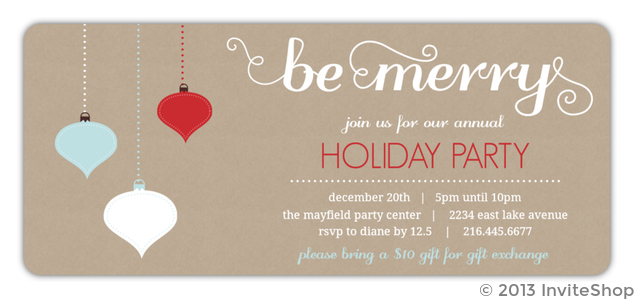 kraft texture drop ornaments business holiday party invitation