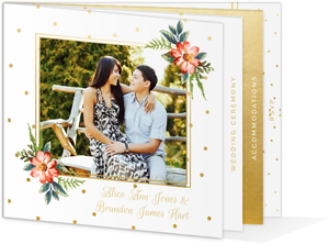 Faux Gold Polka Dot Wedding Booklet Invitation