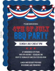 Chalkboard Patriotic Flag 4th of July Party Invitation