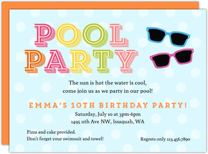 Sunglasses & Polka Dot Pool Party Invitation
