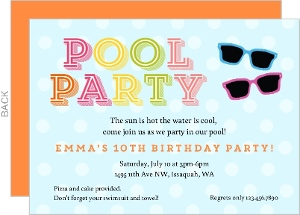 Sunglasses Polka Dot Pool Party Invitation