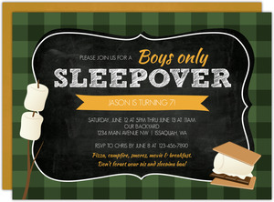 Sleepover S'mores Slumber Party Birthday Invitation
