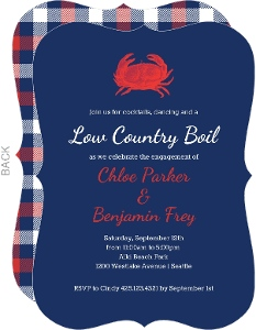 Plaid Crab Boil Party Invitation