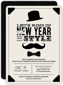 Vintage Cream Mustache Bow Tie New Years Invitation
