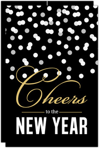 Black Confetti New Years Invitation
