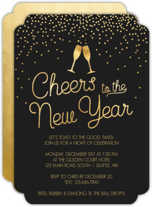 Navy Winter Snowflakes New Years Invitation