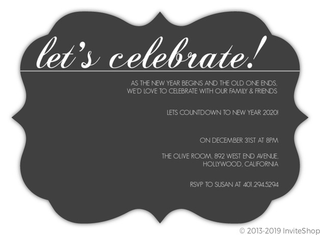 simple celebration new years invitation