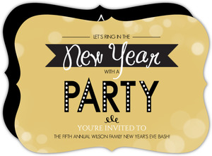 Gold Bubbles New Years Invitation