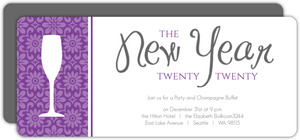 Purple Floral Texture New Years Invitation