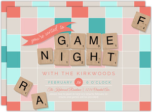 Wooden Letters Game Night Invitation