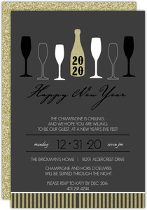 Gold Champagne Toast New Years Invitation