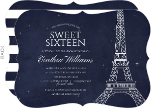 Whimsical Paris Night Birthday Invitation