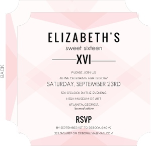 Modern Geometric Sweet Sixteen Invitation