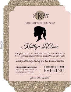 Vintage Glamour Faux Glitter Sixteen Birthday Invitation