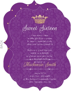 Royal Purple Pattern Sweet Sixteen Invitation