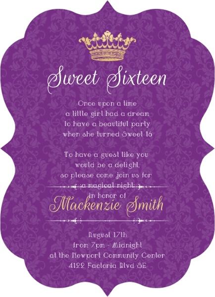 Royal purple pattern sweet sixteen invitation sweet 16 birthday royal purple pattern sweet sixteen invitation filmwisefo