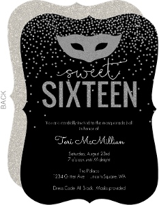 Faux Glitter Masquerade Sixteen Birthday Invitation