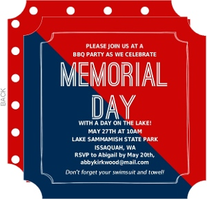 memorial day patriotic invitations barbecue bbq cookout