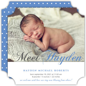 Blue Gray Script Photo Birth Announcement
