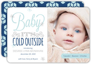 Whimsical Winter Holiday Birth Announcement
