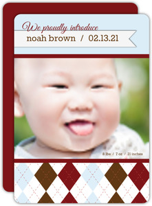 Argyle Boy Birth Announcement