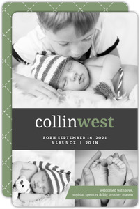 Gray Green Classic Monogram Birth Announcement