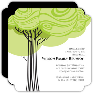 Green Family Tree Reunion Invitation