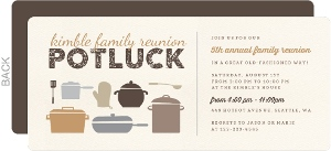 Rustic Potluck Family Reunion Party Invitation  Invitations For Family Reunion
