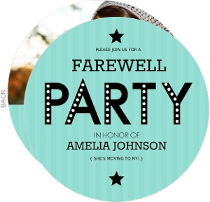 Farewell Striped Turquoise Going Away Invitation