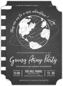 Sketched Globe Adventure Going Away Party Invitation