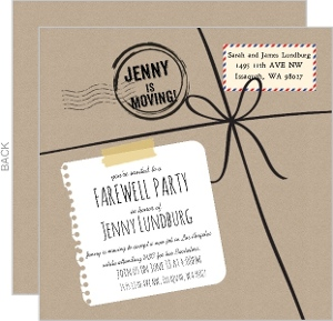 Kraft Package Going Away Invitation