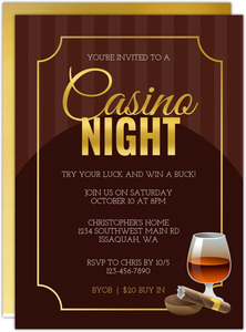 Poker And Cigar Casino Party Invitation