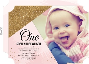 Pink & Faux Gold Glitter First Birthday Invitation