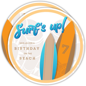 Tribal Surfboard Beach Party Birthday Invitations
