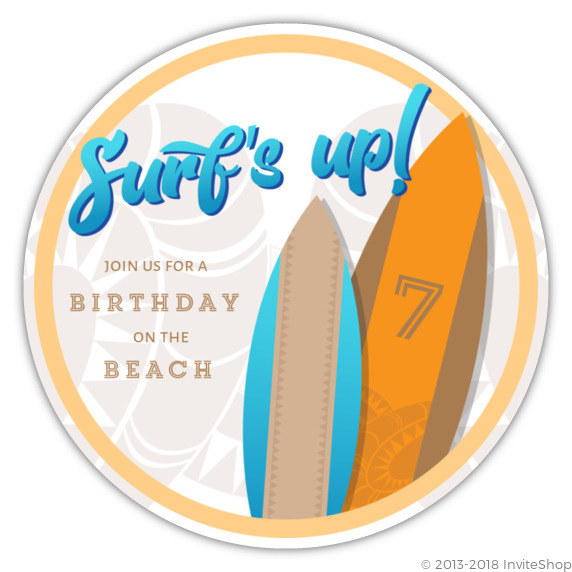 tribal surfboard beach party birthday invitations kids birthday