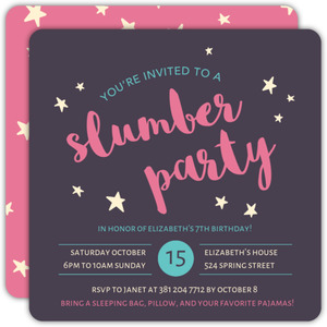 Pink Night Sky Slumber Party Birthday Invitation