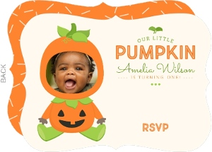 Cute Pumpkin Costume Halloween Birthday Invitation