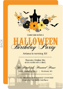Rustic Autumn Flowers Halloween Birthday Invitation