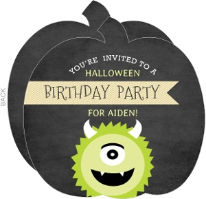 Cute Green Monster Pumpkin Birthday Invitation