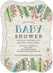 Rustic Holiday Leaves Baby Shower Invitation