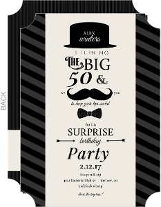 Mustache and Bow Tie Surprise Birthday Party Invitation