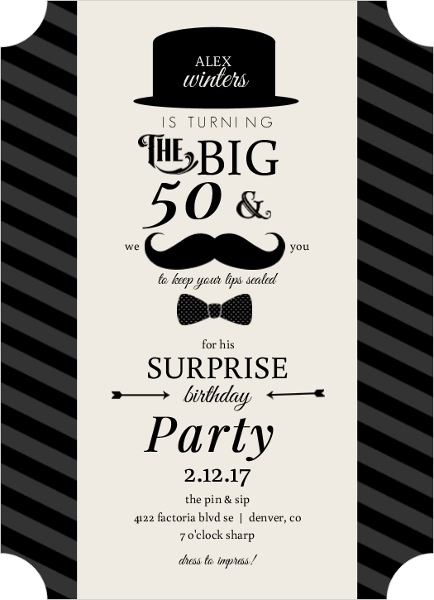 Mustache and Bow Tie Surprise Birthday Party Invitation Adult