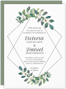 Greenery Diamond Frame Wedding Invitation